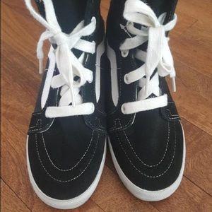Vans Sk8-Hi Black Wedge Sneakers
